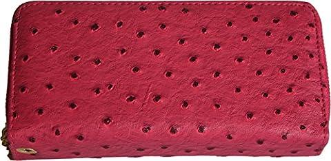 H&G Ladies Large Double Zip Ostrich Skin Effect Purse \ Wallet