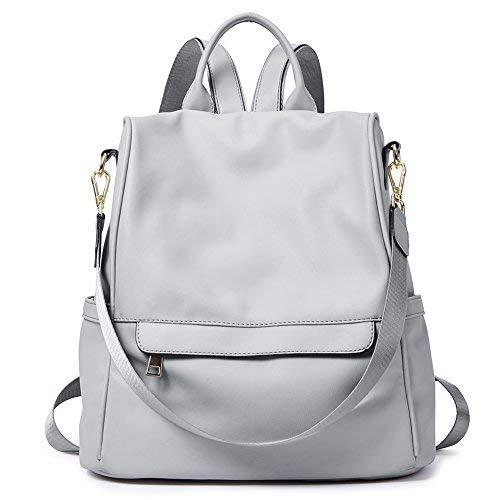 Rucksack Damen Leder Mode Diebstahlsicherer Reiserucksack Anti Diebstahl Schultertasche für Frauen 2 in 1 Grau