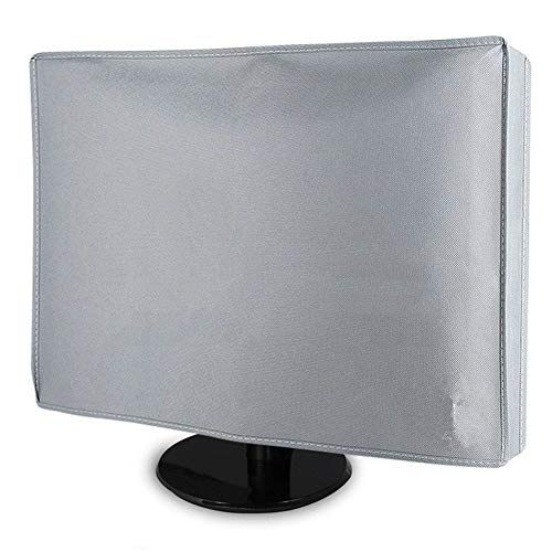 JS-YHLUSI Schutzhülle, Draussen Desktop-PC Computer Staubschutz (Upgrade), Oxford Tuch Wasserdicht Anti-UV, Passend für Terrasse,Silver,24inches -