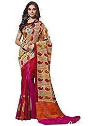 EthnicJunction Holi Special Saree For Women In Paisley Print (Cotton Silk EJ1131-3031,Grey Orange)