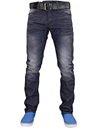 New Mens Designer Crosshatch Coated Denim Slim Fit Jeans Trousers with Free