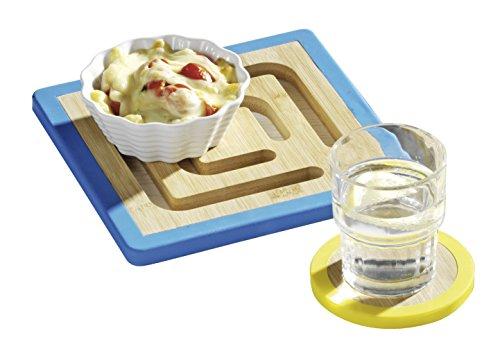 Esmeyer Trivet - Le dessous de plat « Trivet » en bambou et bords en silicones, protège la table des éraflures inesthétiques, avec bords colorés