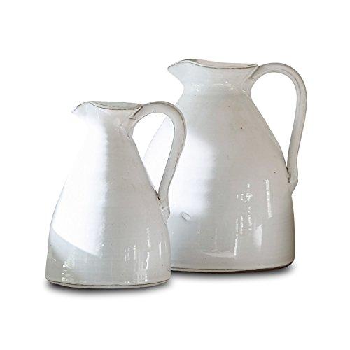 Loberon Krug 2er Set Yarick, Terrakotta, H/B/T ca. 23/19 / 18 cm, weiß (Glas-krug-vase Große)
