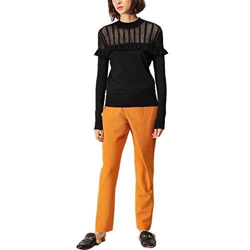 CICI RAN Frauen Sexy Strick Hollow Design Langarm Rundhals Strick Pullover Pullover Knit Frill Top