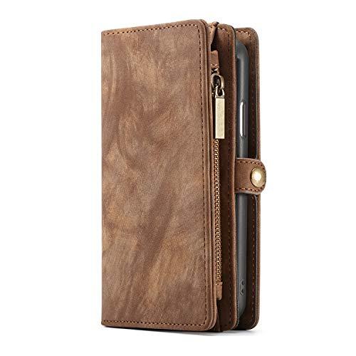 KelaSip Custodia in Pelle per iPhone XS Max, Cover Portafoglio con funzione di supporto [11 slot per schede] [3 slot per contanti] [1 tasca con zip], Marrone