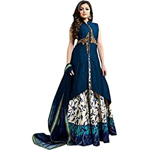 S A Creation Women's Cotton Silk Gowns (Blue,Free Size, Semi-Stitched)