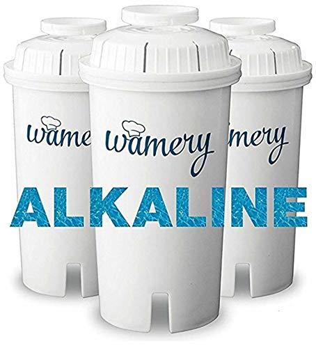 Wamery Reemplazo del Filtro de Agua 3-Pack. Se Adapta a jarras Brita. Purificador y Ionizador. Certificado...