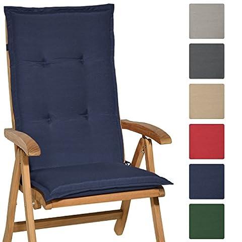 Beautissu High Back Chair Cushion Loft HL 120 x 50 x 6 cm Recliner Garden Chair Pad with Soft Foam Core Dark