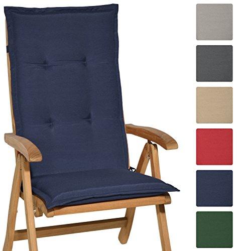 Beautissu Hochlehner Auflage Loft HL 120x50x6cm Sitzkissen Rückenkissen mit Schaumkern-Füllung Dunkel-Blau