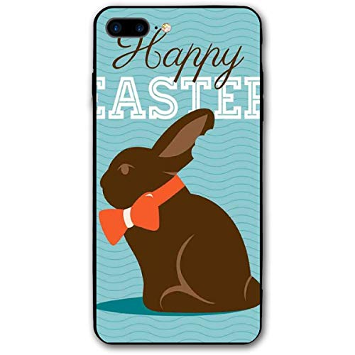 ZZHOO Compatible with iPhone 7/8 Plus Case, Chocolate Bunny with An Orange Bow Tie On A Wavy Stripes Background,Rubber Anti-Scratch Shock Absorption Protective Phone Cover Stripe Bow Tie