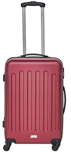 Packenger Kofferset - Travelstar - 3-teilig (M, L & XL), Rot, 4 Rollen, Koffer mit Zahlenschloss, Hartschalenkoffer (ABS) robuster Trolley Reisekoffer - 4