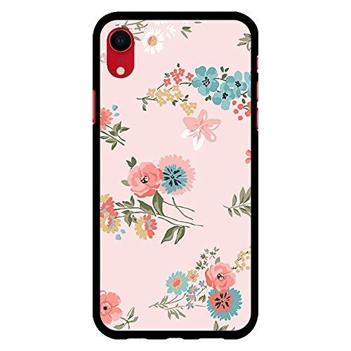 BJJ SHOP Schwarz Hülle für [ iPhone XR ], Klar Flexible Silikonhülle, Design: Aquarell blüht mehrfarbigen rosa Hintergrund