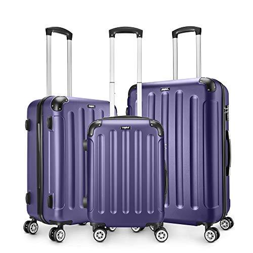 AMASAVA-Set of Maletas,Juego de Maletas Rígidas,Candado TSA,ABS,40L/55CM,65L/65CM.101L/75CM,4 Ruedas multidireccional,Azul Marino
