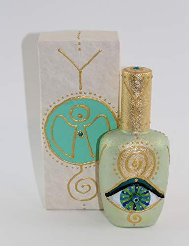 Herz-parfüm-flasche (EYE OF HILARION Flacon Parfüm Flasche Auge Engel Spirale Ypsilon Wellness Harmonie Symbol Hellgrün Blau Türkis Gold Vergoldet Geschenk Set)