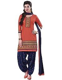 Lords Orange Satin Cotton Unstitched Patiala Salwar Suit