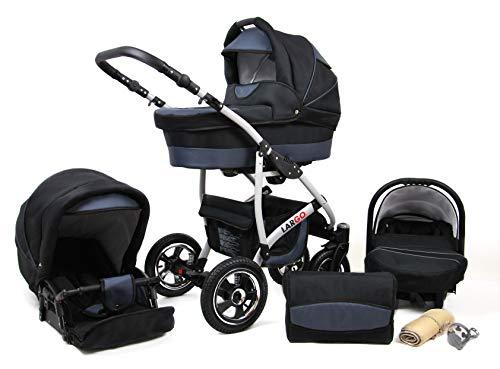 Kinderwagen Largo,3 in 1 -Set Wanne Buggy Babyschale Autositz mit Zubehör Black Grey