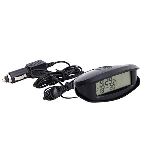 Homyl LED Auto Digital Innen Außen Thermometer Spannungstester Voltmeter Spannungsmesser KFZ PKW