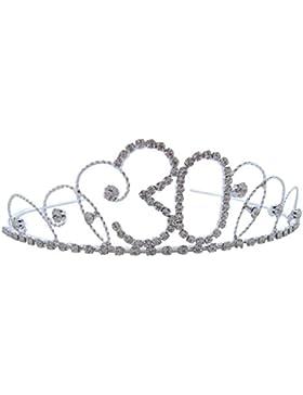 Pick a Gem Haar Zubehör Silber mit Kristall 30. Geburtstag Tiara Krone/Happy 30th Birhday