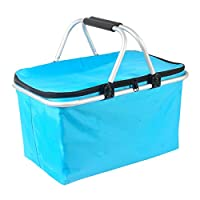 Deacroy Collapsible Picnic Basket,Lightweight Insulated Cooler Bag 32L Large Family Size for Picnics,Vacations,Parties,Beach,Travel and Camping Blue 713289780227