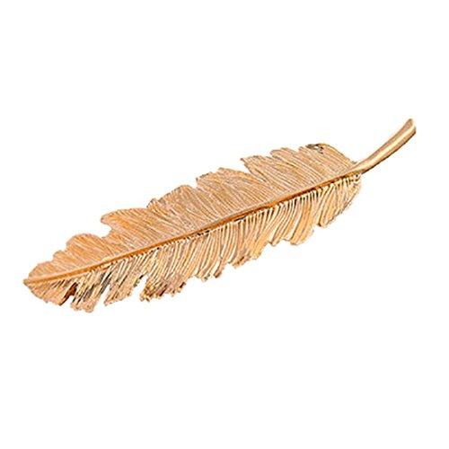 Haarnadel HKFV Mode Frauen Blatt Feder Haarspange Haarnadel Haarspange Bobby Pin Haarschmuck Blatt Haarspange Seite Clip Haarspange Haarnadel Karte (Gold) (Feder-haar-scheren)