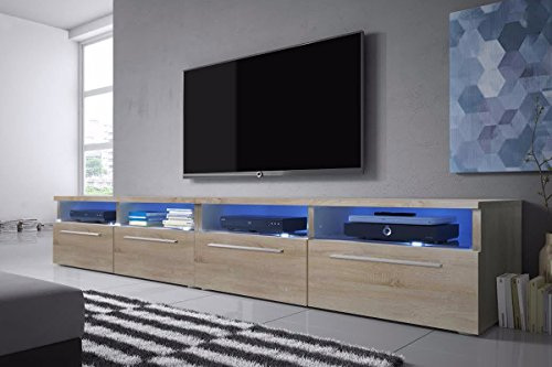 Siena Double - TV Lowboard / TV Schrank (200 cm, LED-Beleuchtung in Blau)