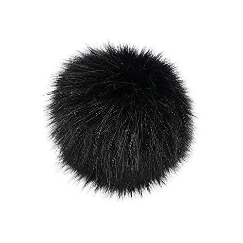 TUDUZ DIY Kunstpelz Pom Poms Ball mit Druckknopf/Gummiband Abnehmbarer Flauschiger Kunstfell Bommel Pompon für Mützen und Beanies Schuhe Schals Tasche Zubehör(A-5)
