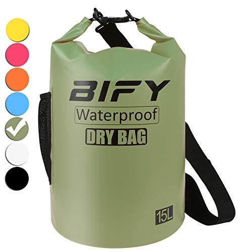 BIFY Dry Bag 5L/10L/15L/20L/25L/30L/40L 7 Farbe Leicht Wasserdichter Packsack/Wasserdichte Tasche/Trockensack lang Schulter Verstellbarer Schultergurt für Boot Kajak Wassersport Treiben - Schulter-boot