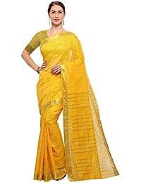 Vastrang Women's Banarasi Art Silk Checkered Sarees With Unstitched Blouse Piece_50005
