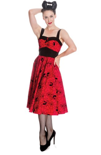 Hell Bunny dell'abito BLACK WIDOW DRESS Rosso