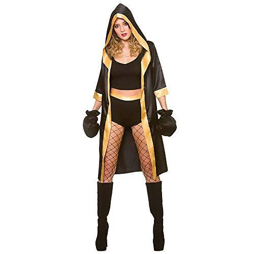Unbekannt Erwachsene Frau Schwarz/Gold Sexy Knockout Boxer Kostüm (Klein)