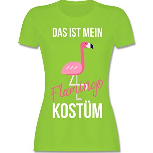 Shirtracer Karneval & Fasching - Das ist Mein Flamingo Kostüm - Damen T-Shirt Rundhals Hellgrün