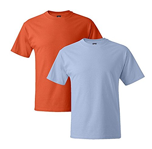 Hanes Mens 5180 Short Sleeve Beefy T, 1 Light Blue/1 Light Steel 1 Light Blue / 1 Orange