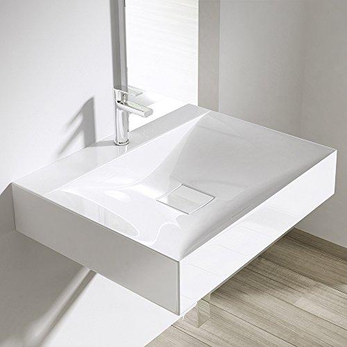 Preisvergleich Produktbild Design Hänge-/Aufsatzwaschbecken Colossum810, BTH: 60x48x11cm, Waschbecken aus Gussmarmor