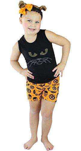 Petitebelle Cat Face Nero Gilet arancione zucca di Halloween con pantaloncini Nb-8y Black 4-5 Anni