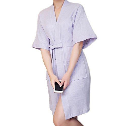 Bluelover Bx-988 Handtuch Bademantel Kleid Unisex Männer Frauen Solid Baumwolle Paar Waffel Schlaf Lounge - Lila - M