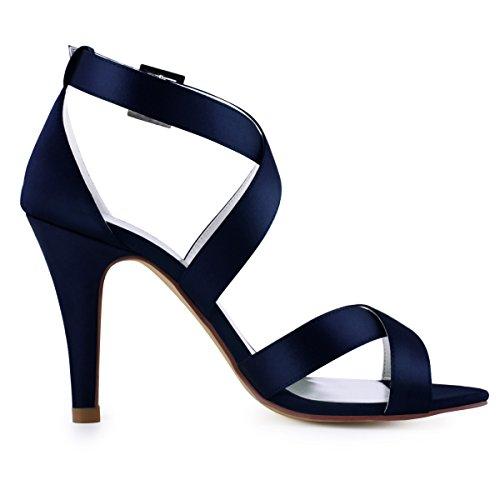 b2bb2b64be377 ... Elegantpark Hp1705 Femmes Peep Toe Stiletto Stiletto Stiletto Sandales  À Talons Boucle Satin Partie Marine Bleu ...