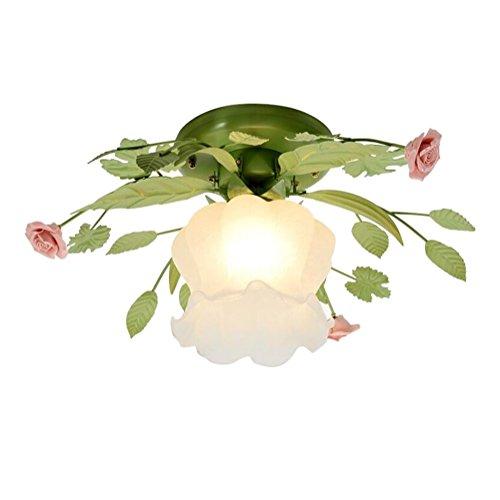 Zfafa retro lampadario da soffitto a forma di fiore classico, cristallo trasparente in stile chic, Ø 38 cm e27, europa pastorale lampada di vetro [classe di efficienza energetica a+]