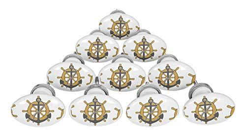 IBA Indianbeautifulart Feuer Busch Rad & Ankerhaken nautisch Oval Keramik Möbelknöpfe Möbelknöpfe Für Kommoden -