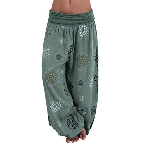 WOZOW Pumphose Bloomers Haremshose Stoffhose Damen Hippie Casual Boho SunBlumenmuster Flowers Floral Print Bedrucktes Druck Gefaltet Plissee Bloomers Long Low Waist Yoga Trousers (S,Graugrün) -
