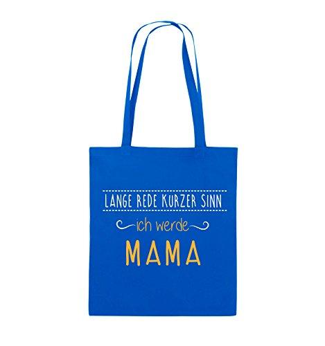 Borse Comiche - Per Farla Breve, Io Mamma. - Borsa Di Juta - Manico Lungo - 38x42cm - Colore: Nero / Bianco-neon Verde Blu Reale / Bianco-giallo