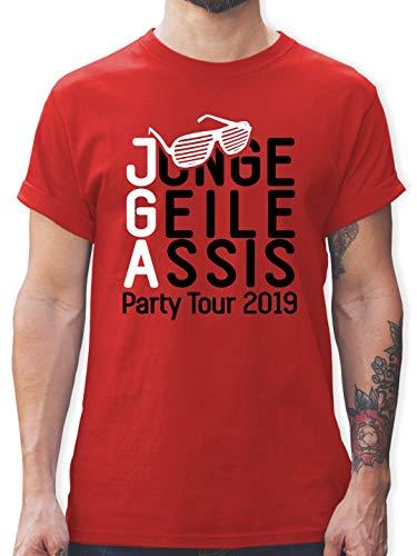JGA Junggesellenabschied - JGA - Junge Geile Assis 2019 - M - Rot - L190 - Herren T-Shirt und Männer Tshirt