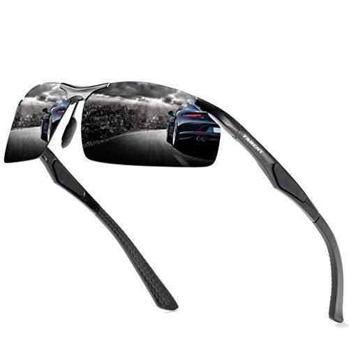Tarent Sonnenbrille Herren polarisiert mit Hochwertiger Al+Mg Metallrahmen, Fahrradbrille Sportbrille Fahrer Brille für Wandern Motorradfahren Golfen und Fischen