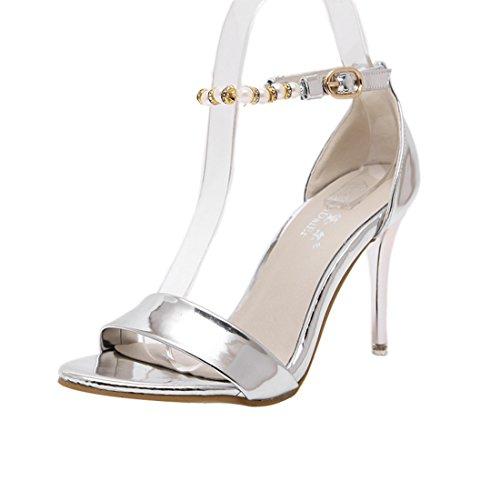 UH Femmes Sandales Bride Cheville avec Perle et Strass Bout Ouvert High Heel Stiletto de Fermeture Boucle pour dete Argente