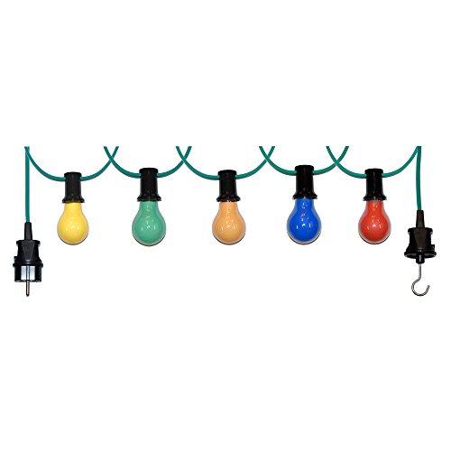 30m Illu Leitung Lichterkette für innen u. außen inkl. 30 Fassungen + Glühbirnen E27 25W bunt gemischt