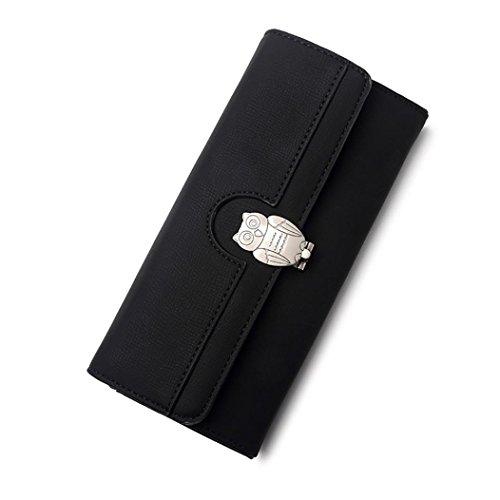 Portafoglio Lungo,Kword Donne in Pelle di Lusso Borsa Portacarte Multi-Funzione del Telefono Nero
