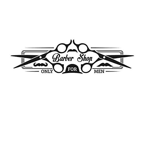 Crjzty Mann Friseur Aufkleber Maßgeschneiderte Chop Brot Aufkleber Haarschnitt Rasierer Poster Vinyl Wandkunst Aufkleber Decor Windows Dekoration Schwarz 55x200 cm