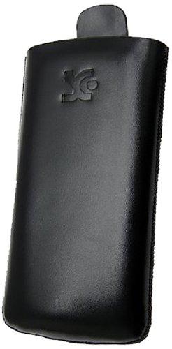 Suncase Tasche / Samsung Wave S8500 / Leder Handytasche Ledertasche *Speziell - Lasche mit Rueckzugfunktion* Schwarz