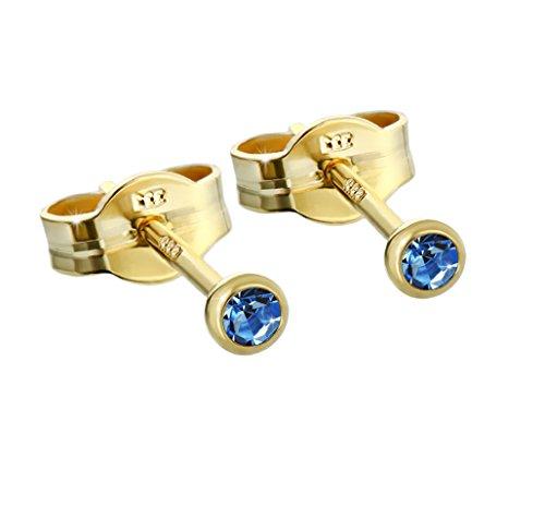 NKlaus Paar Ohrstecker Gold 333er 2,50mm hellblau Zirkonia Damen Herren Kinder 6586