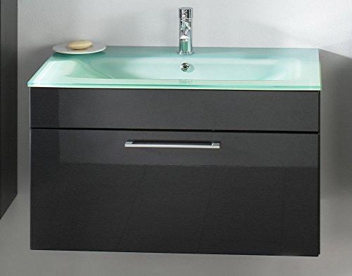 Waschplatz Parma, Breite 90 cm, mit 1 Schublade und Aquamarin-Glasbecken, Anthrazit