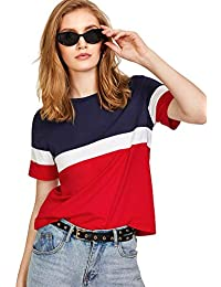 FreshTrend Blue White Red Cotton Round Neck Tshirt for Women